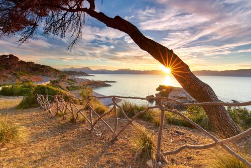 Naturbelassene Kueste Auf Mallorca, Sonnenuntergang Am Meer